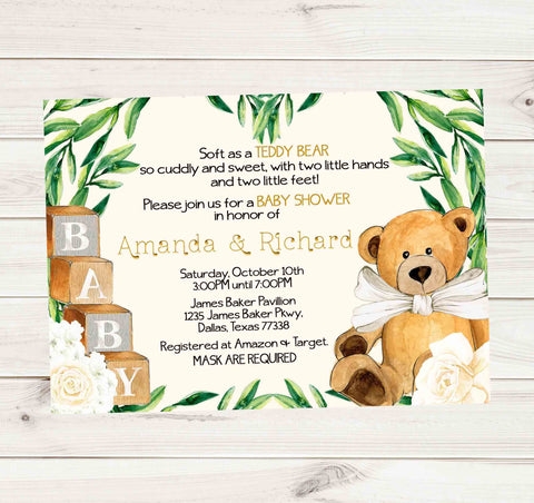 Teddy Bear Rose Tan Ivory Mask Require Baby Shower Invitation - Printed or File