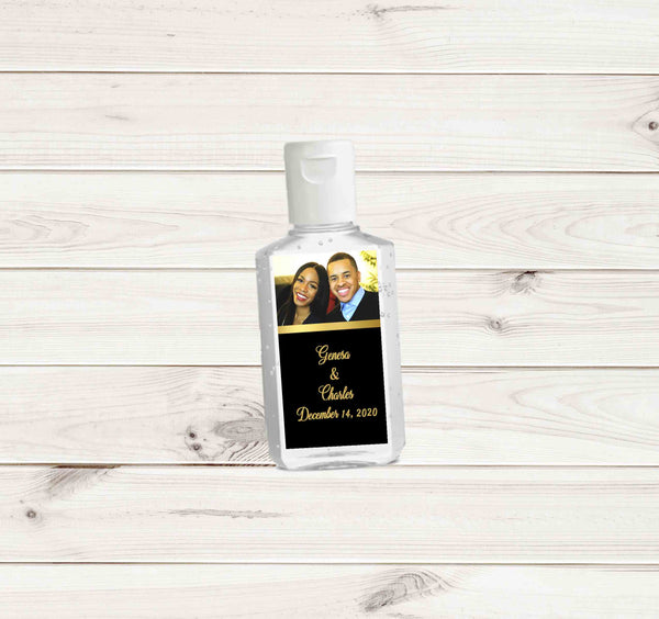 Wedding Photo Hand Sanitizers Labels with Names and Date for Purell 2 oz bottles - Printed or File