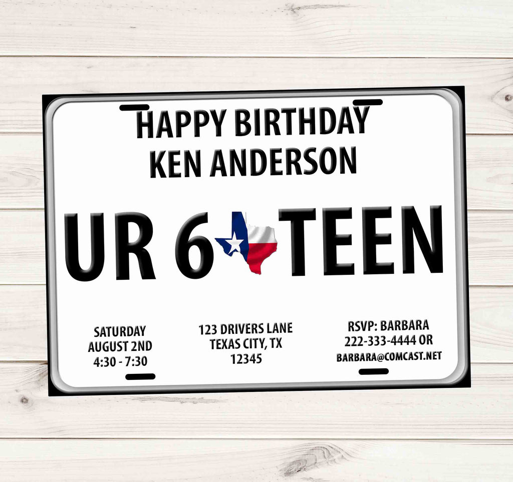 Sweet 16 driver license plate birthday invitations texas custom sweet 16 driver license plate birthday invitations texas custom printable invites and delites filmwisefo