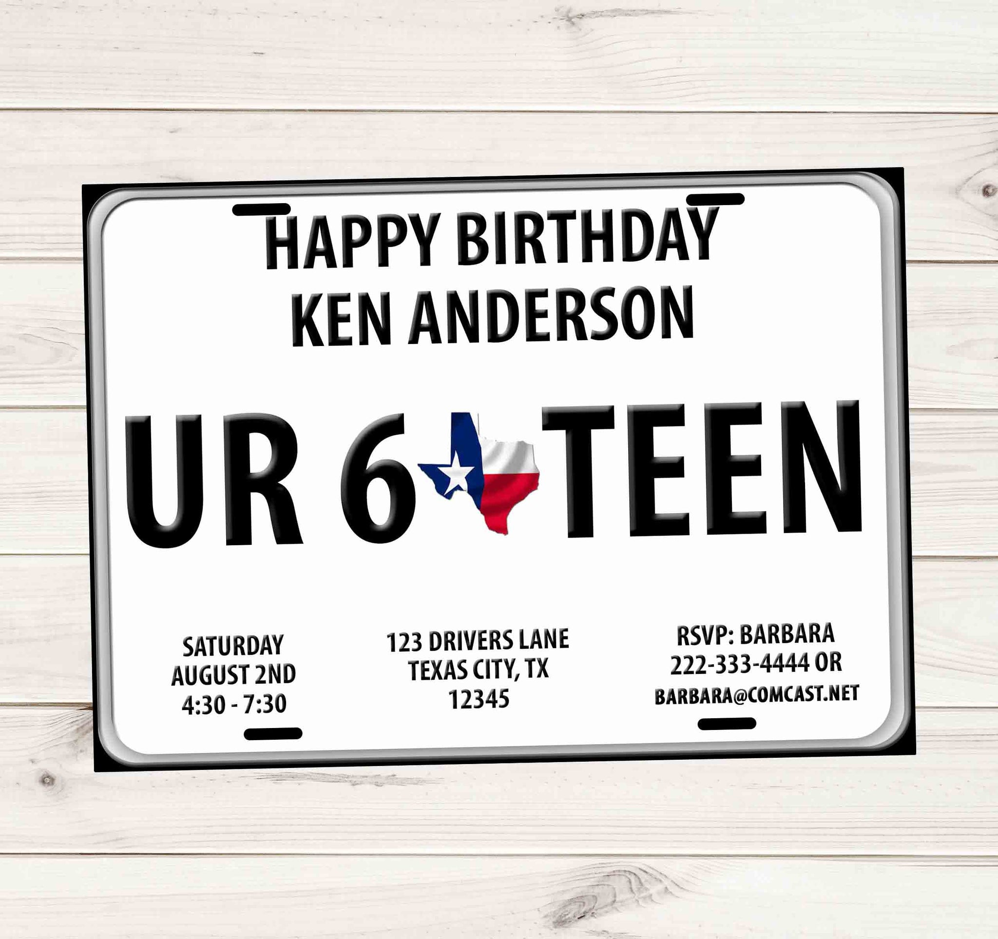 Sweet 16 Driver License Plate Birthday Invitations - Texas - Custom Printable - Invites and Delites