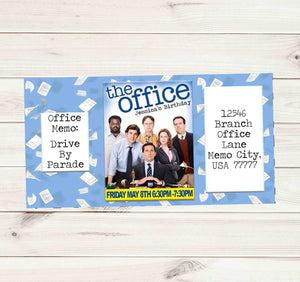The Office TV Show Car Drive By Birthday Party Parade Facebook Invites