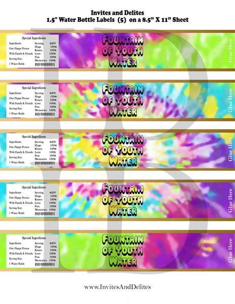 Tie Dye Fountain of Youth Water Bottle Labels - Instant Printable