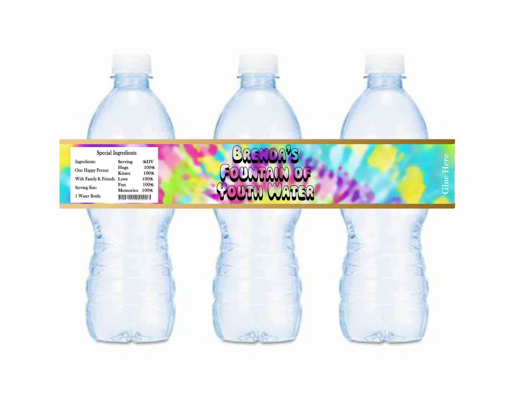 Tie Dye Fountain of Youth Personalized Water Bottle Labels - Custom Printable