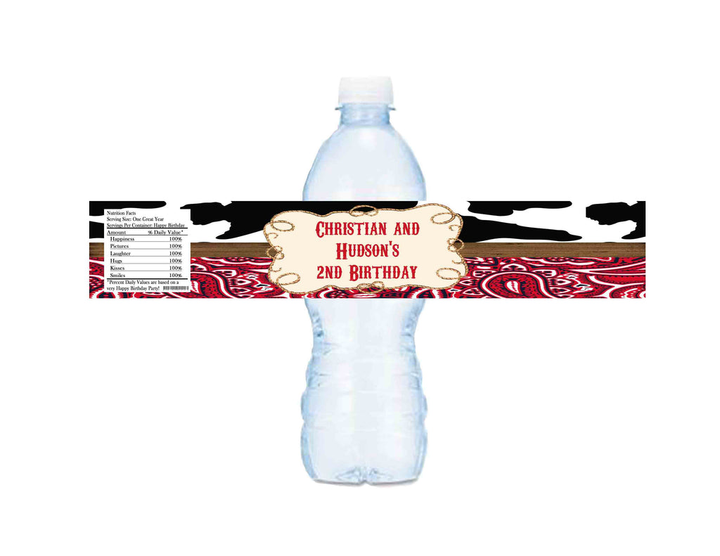 f9527396a9 Twin Cowboy Theme Water Bottle Labels - Custom Printable - Invites and  Delites