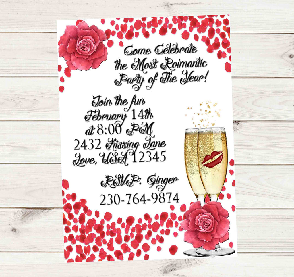 Golden Champagne Rose Flowers and Petals Party Invitation - Custom Order