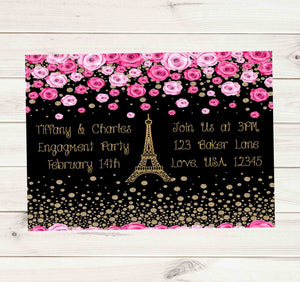 Paris Eiffel Tower Pink Rose Golden Engagement Invitation - Custom Order - Invites and Delites