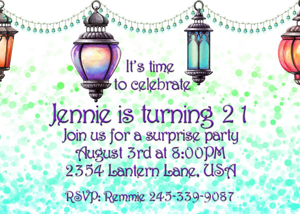 Moroccan Lighted Lamps Bokeh Birthday or Bridal Shower Invitation - Custom Printable