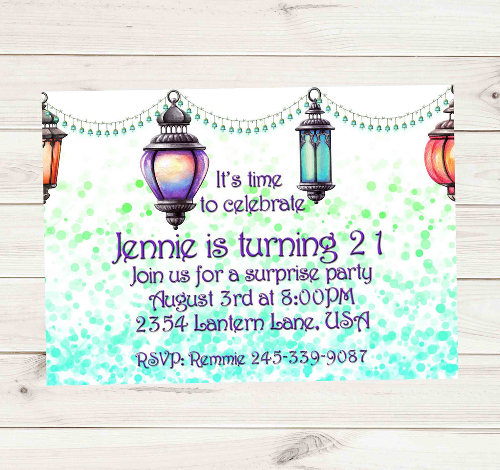 Moroccan Lighted Lamps Bokeh Birthday or Bridal Shower Invitation - Custom Printable - Invites and Delites