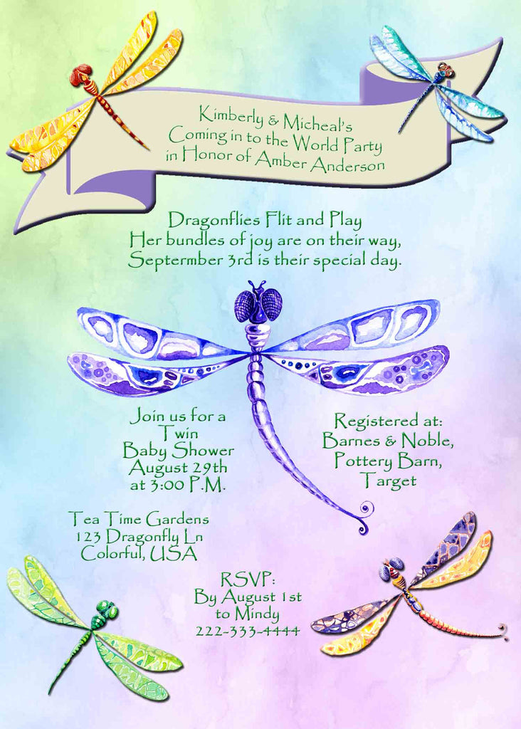 Dragonfly Multi Color Baby Shower Invitation - Custom Printable - Invites and Delites