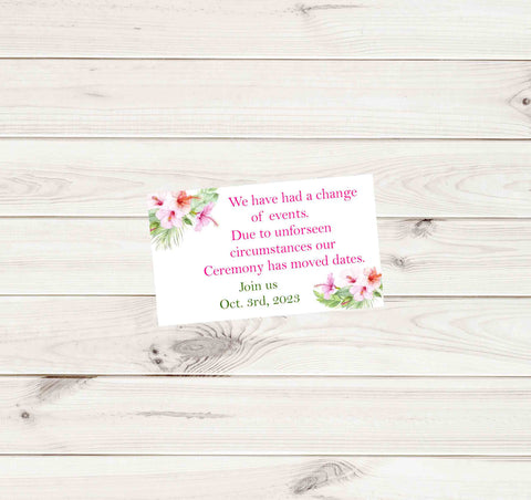 Tropical Wedding Hibiscus Change of Plans Small Insert Cards