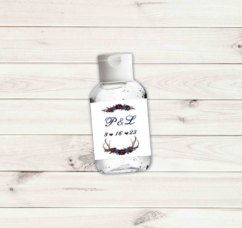 Wedding Photo Hand Sanitizers Sticker Labels Plum and Navy Flower and Antlers with Names and Date for 2 ounce bottles - Printed or File