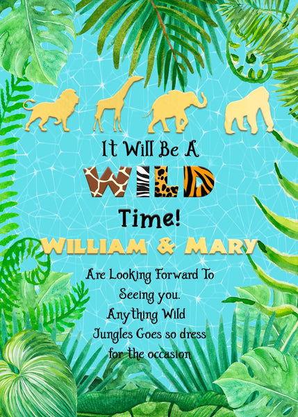 Wild Jungle Safari Pool Party with Golden Animals Birthday Invitation - Printed or File