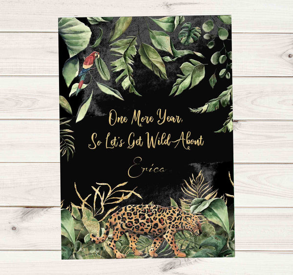 Wild About Being 50 Jungle Theme Birthday Invitation - Custom Order