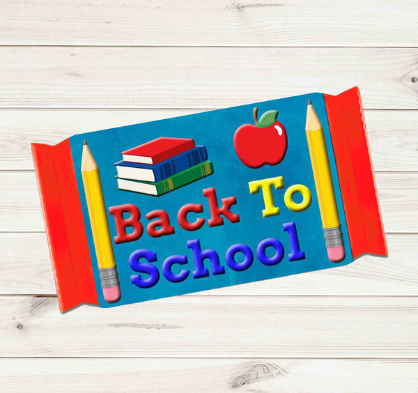 Back to School Candy Bar Wrapper Welcome Back for Students Kit Kat 1.5oz (42g) Label Wrappers -  Printed