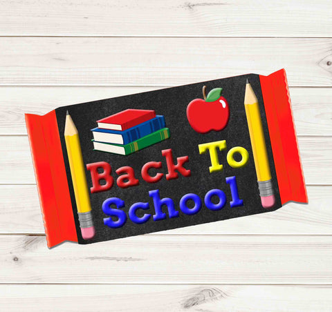 Back to School Candy Bar Label Welcome Back for Students Chalkboard Kit Kat 1.5oz (42g) Label Wrappers - Printed
