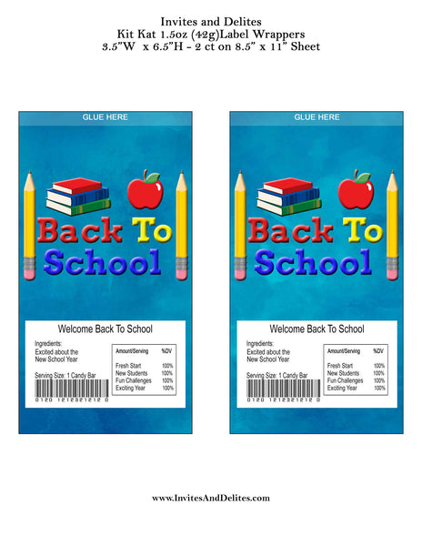 Back to School Welcome Back for Students Kit Kat 1.5oz (42g) Label Wrappers - Instant Printable - Invites and Delites