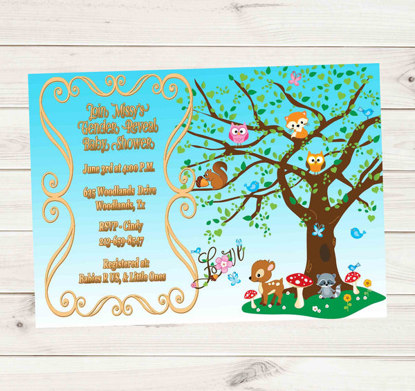 Woodland Animals Rustic Chic Blue Sky Baby Shower or Birthday Invitation - Custom Printable - Invites and Delites