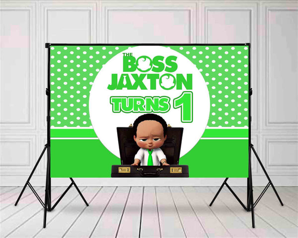 Lime Green Boss African American Birthday Backdrop 10ft x 10ft  File or Printed Banner  - Free Shipping