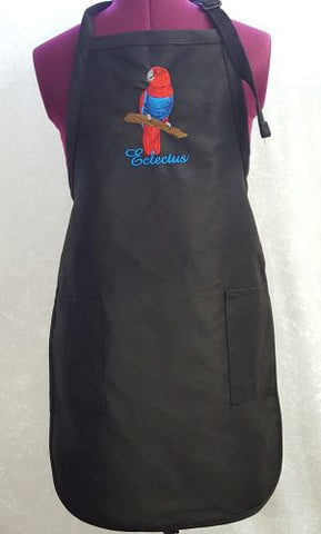 Eclectus Parrot Female Embroidere on an Apron
