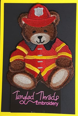 Firefighter Teddy Bear Embroidered Patch