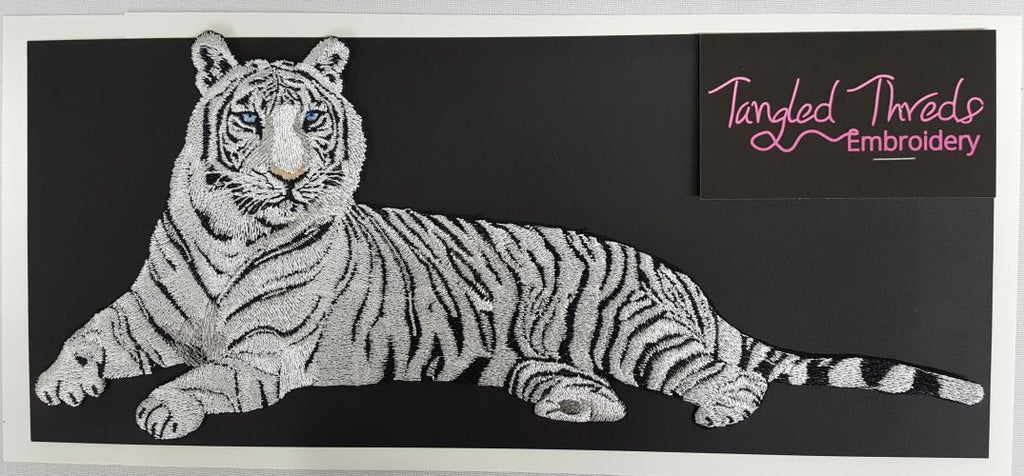 "White Tiger Embroidered Patch 12"" x 5.2"""