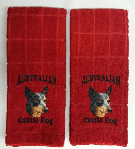 Australian Cattle Dog Blue Heeler Embroidered Hand Towels
