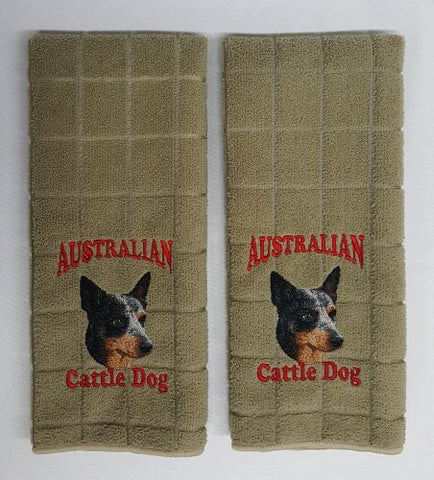 Australian Cattle Dog, Blue Heeler Embroidered Hand Towels