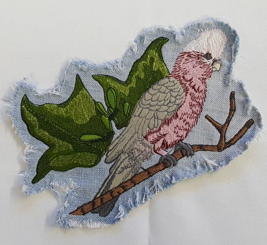 Galah or Rose Breasted Cockatoo Embroidered Patch on Denim