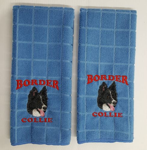 Border Collie Embroidered Hand Towels