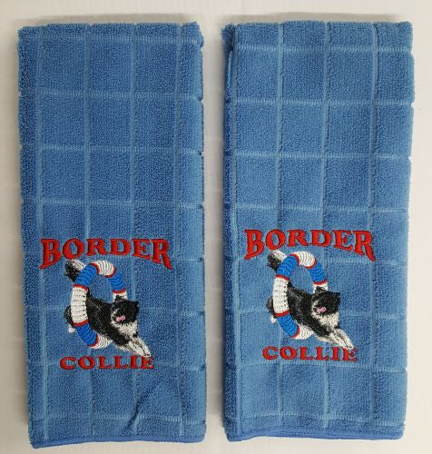 Border Collie Agility Embroidered Hand Towels