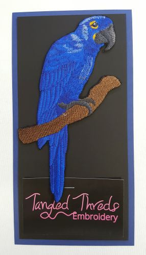 Hyacinth Macaw Embroidered Patch Free USA Shipping