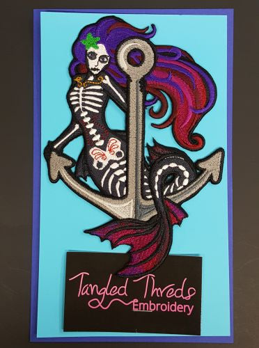 Mermaid Skeleton Embroidered Patch