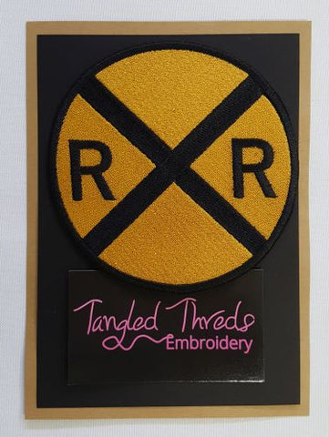 "Railroad Crossing Sign, Train, Embroidered Patch 4.5""x 4.5"""
