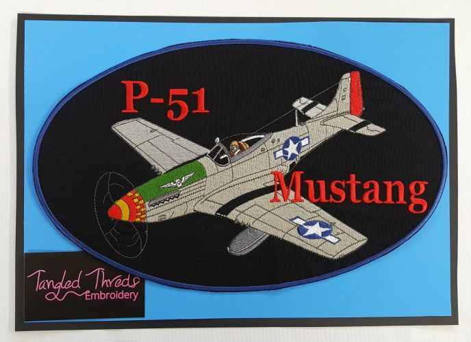 "P-51 Mustang, Military Embroidered Patch 12"" x 7.5"""