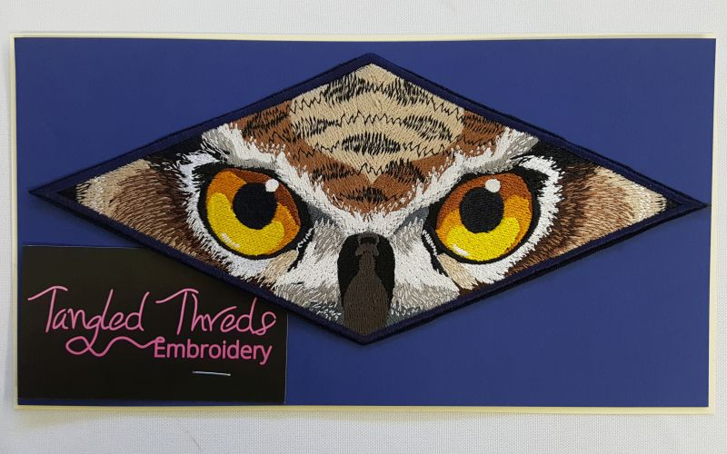 "Owl Eyes Embroidered Patch 9"" x 4"""