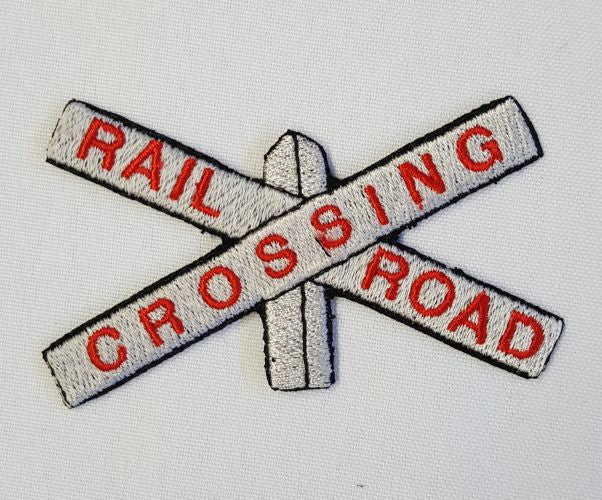 "Railroad Crossing Sign, Train, Embroidered Patch 3.5"" x 2.1"""