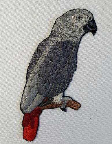 "African Grey Parrot Bird Embroidered Patch 2.6"" x 3.9"""