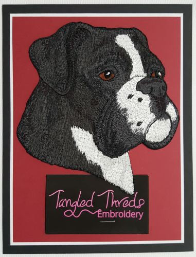 "Boxer Dog Black & White Embroidered Patch 5.5"" x 5.9"""
