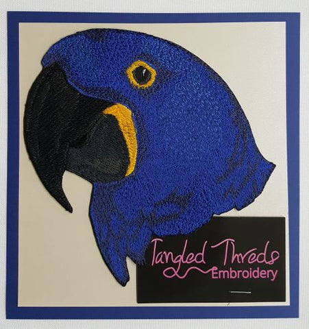 Parrot Embroidered PATCH//BADGE Hyacinth macaw