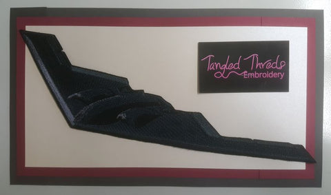 "Stealth Bomber, Military, Plane, Embroidered Patch 11.9"" x 5"""