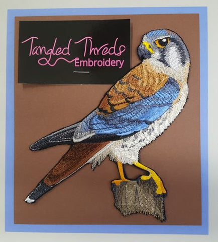 American Kestrel Falcon, Perching Embroidered Patch