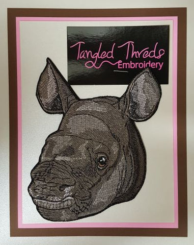 "Rhino Baby, Rhinoceros Embroidered Patch 4.7"" x 5.6"""