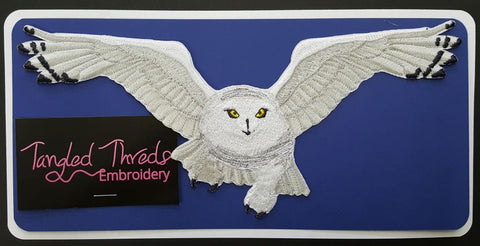 "Snowy Owl Flying, Birds of Prey, Embroidered Patch 9.8""x 4.4"""