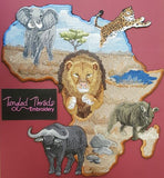 "Africa, Lion, Rhino, Cheetah, Water Buffalo, Embroidered Patch 10.8"" x 11.5"""
