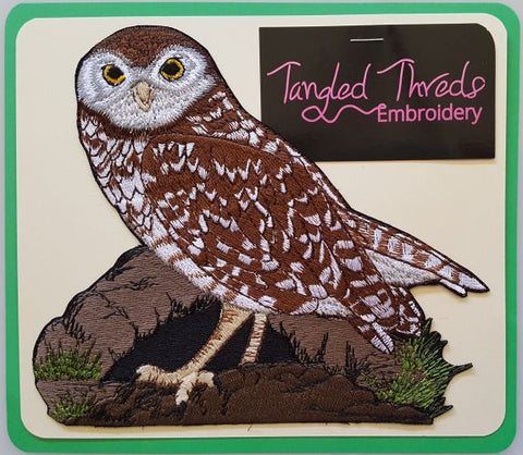 "Burrowing Owl Birds of Prey Embroidered Patch 7"" x 6.2"""