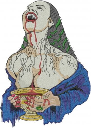 Vampire Lady, Halloween Embroidered Patch 5.6: x 7.8""