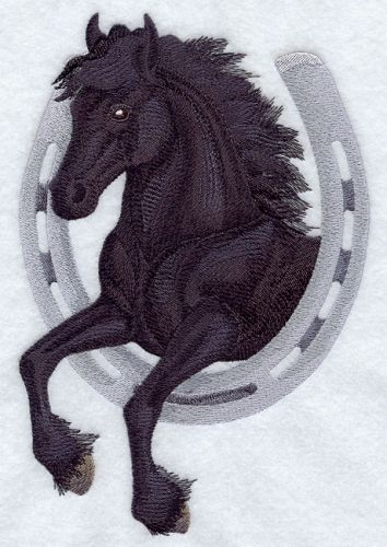 "Friesian Horse & Horseshoe Embroidered Patch Approx Size 5.8"" x 8.6"""