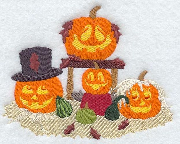 "Pumpkins, Jack-o-Lantern, Halloween Embroidered Patch 5.4"" x 4.3"""