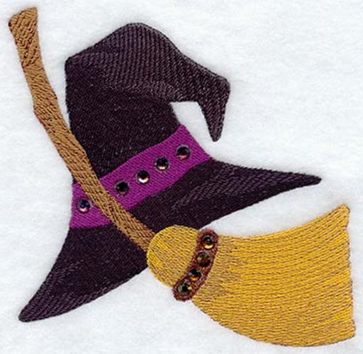 "Witch Hat & Broom, Halloween Embroidered Patch 4.9"" x 4.8"""