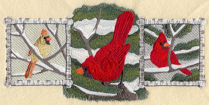 "Cardinal,Bird, Winter Cardinal Trio Embroidered Patch 9.4"" x 4.6"""